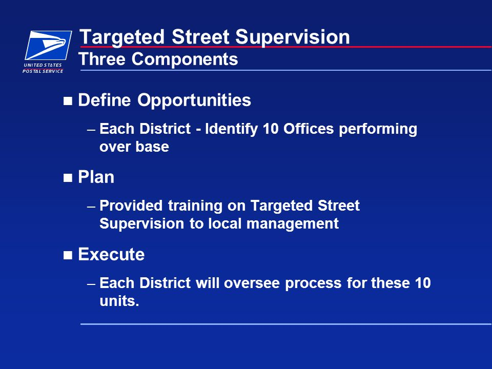 Define Opportunities –Each District - Identify 10 Offices performing over base Plan –Provided training on Targeted Street Supervision to local managem