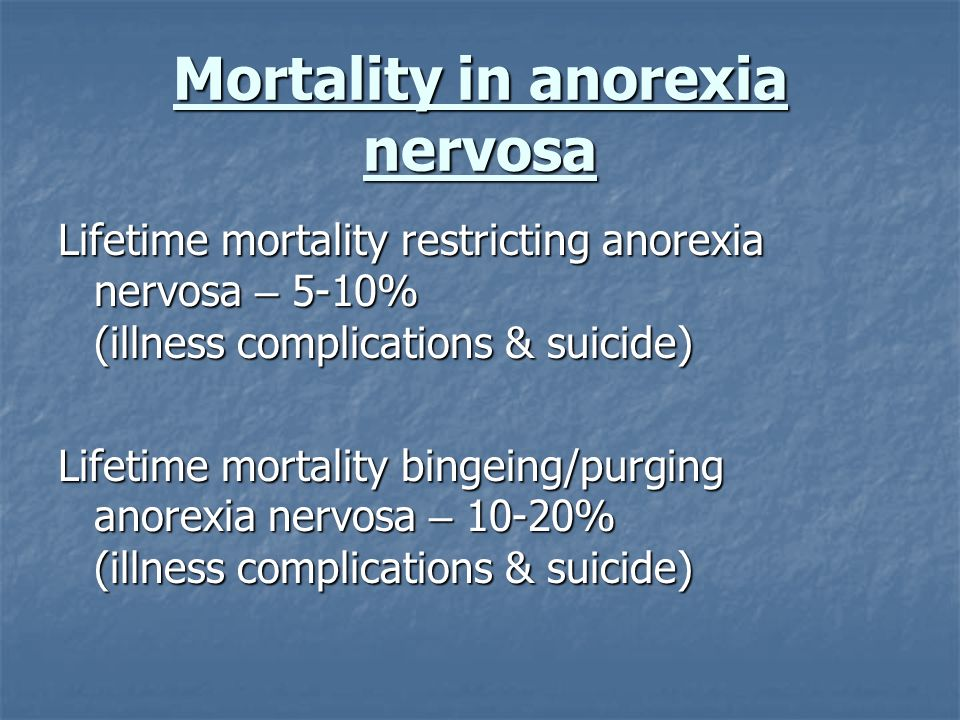 Mortality in anorexia nervosa Lifetime mortality restricting anorexia nervosa – 5-10% (illness complications & suicide) Lifetime mortality bingeing/pu