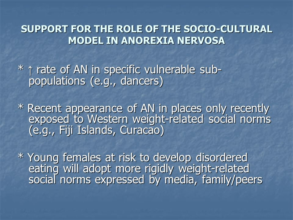 SUPPORT FOR THE ROLE OF THE SOCIO-CULTURAL MODEL IN ANOREXIA NERVOSA * rate of AN in specific vulnerable sub- populations (e.g., dancers) * Recent app