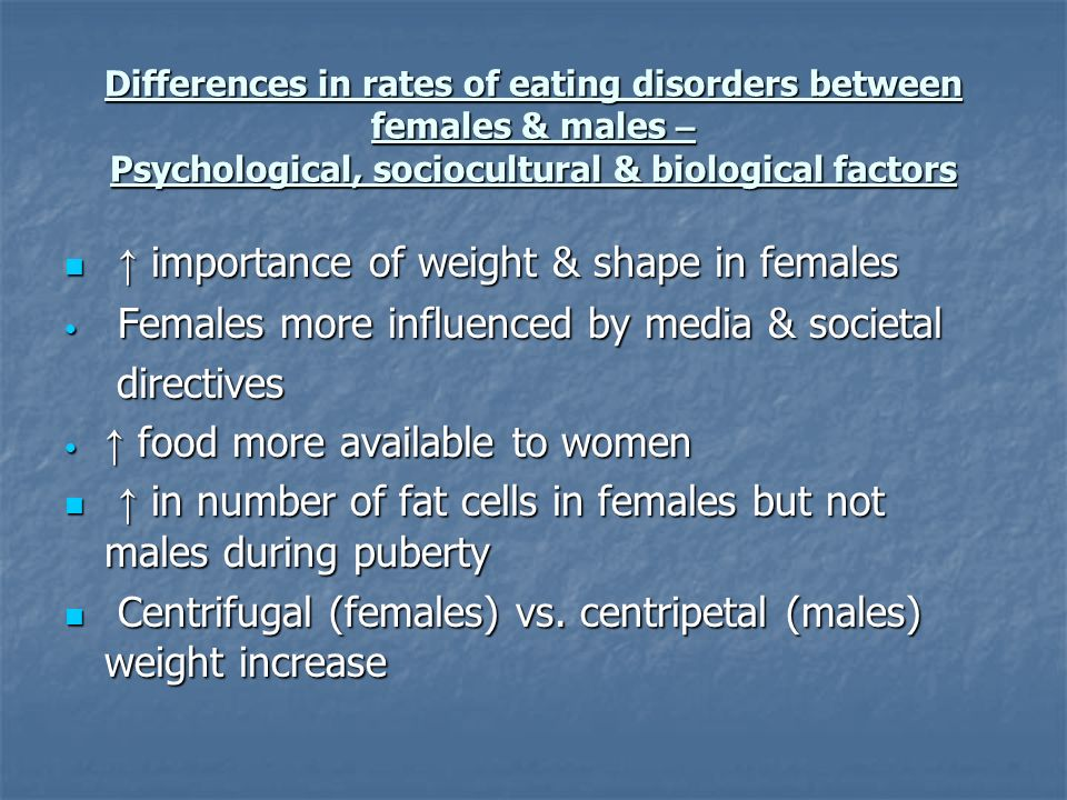 Differences in rates of eating disorders between females & males – Psychological, sociocultural & biological factors importance of weight & shape in f