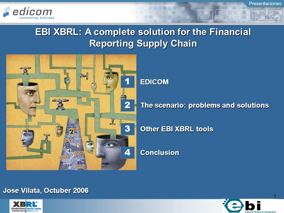 1 1 EDICOM Other EBI XBRL tools Conclusion The scenario: problems and solutions EBI XBRL: A complete solution for the Financial Reporting Supply Chain