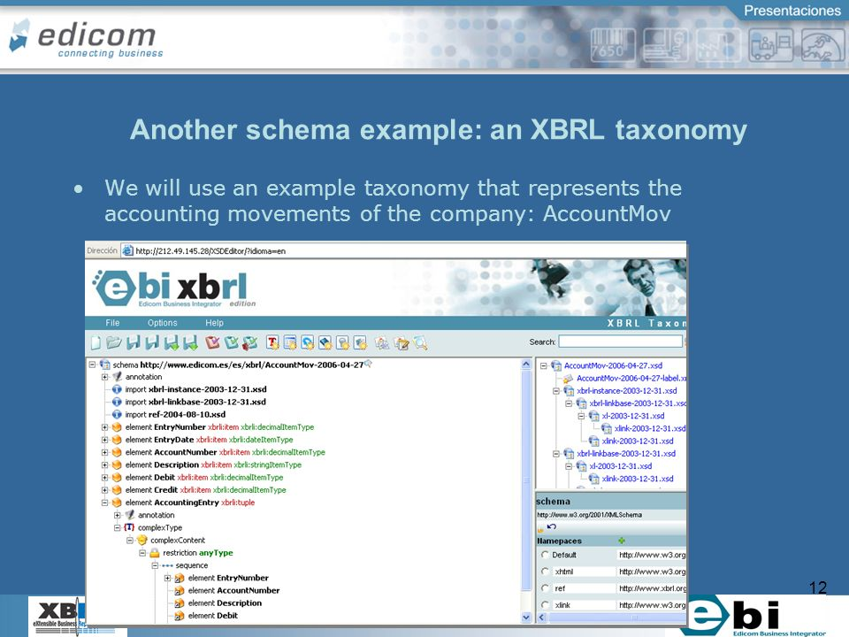 12 Another schema example: an XBRL taxonomy We will use an example taxonomy that represents the accounting movements of the company: AccountMov