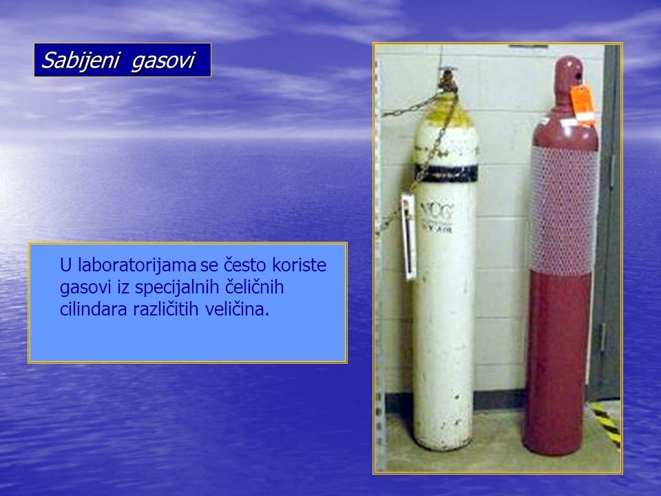 U laboratorijama se često koriste gasovi iz specijalnih čeličnih cilindara različitih veličina.