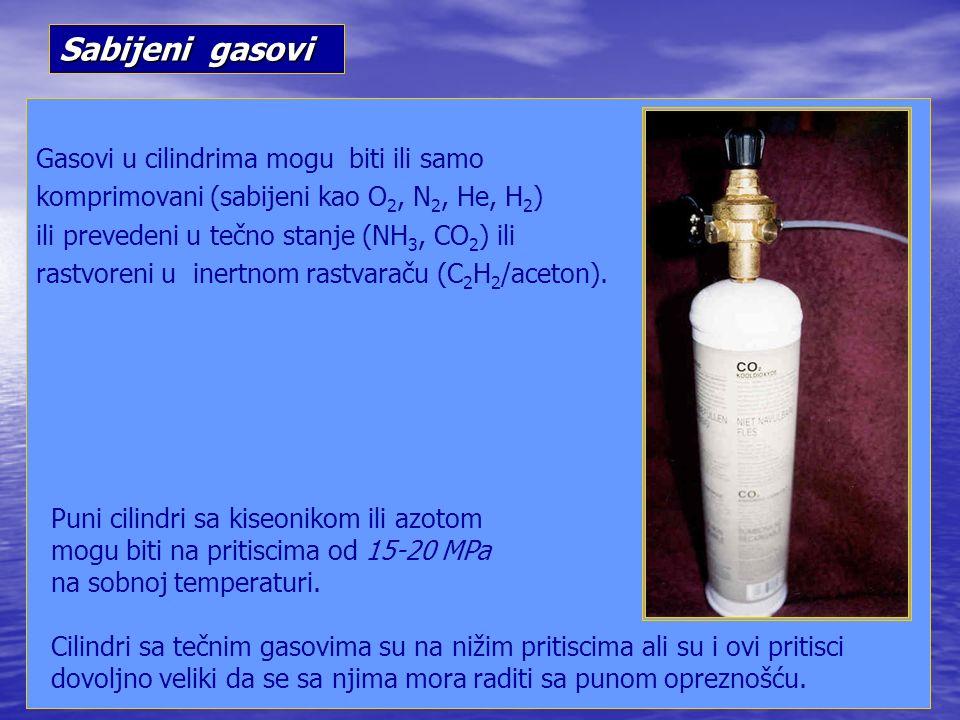 Gasovi u cilindrima mogu biti ili samo komprimovani (sabijeni kao O 2, N 2, He, H 2 ) ili prevedeni u tečno stanje (NH 3, CO 2 ) ili rastvoreni u inertnom rastvaraču (C 2 H 2 /aceton).