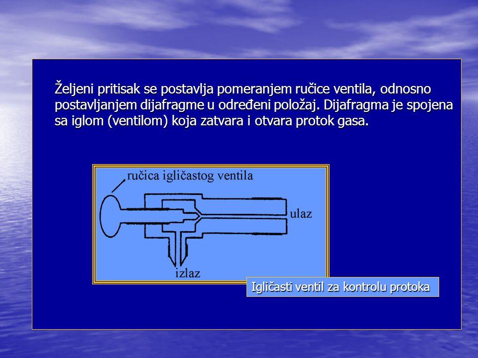 Željeni pritisak se postavlja pomeranjem ručice ventila, odnosno postavljanjem dijafragme u određeni položaj.