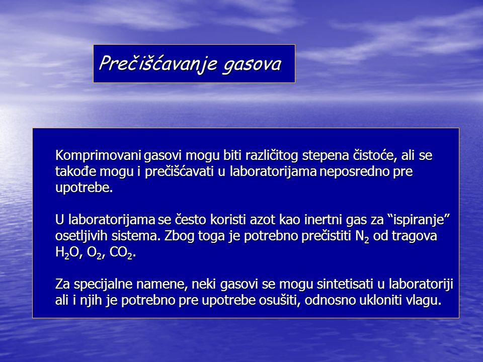 Prečišćavanje gasova Komprimovani gasovi mogu biti različitog stepena čistoće, ali se takođe mogu i prečišćavati u laboratorijama neposredno pre upotrebe.