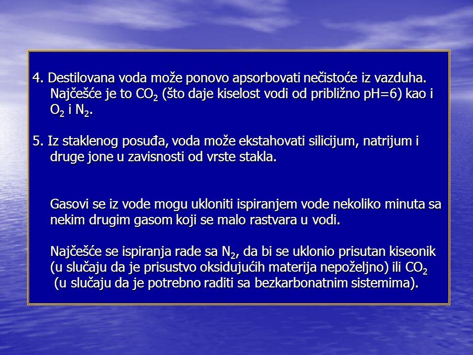 4.Destilovana voda može ponovo apsorbovati nečistoće iz vazduha.