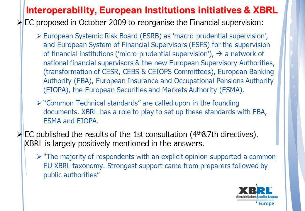 Interoperability, European Institutions initiatives & XBRL EC proposed in October 2009 to reorganise the Financial supervision: European Systemic Risk Board (ESRB) as macro-prudential supervision , and European System of Financial Supervisors (ESFS) for the supervision of financial institutions ( micro-prudential supervision ), a network of national financial supervisors & the new European Supervisory Authorities, (transformation of CESR, CEBS & CEIOPS Committees), European Banking Authority (EBA), European Insurance and Occupational Pensions Authority (EIOPA), the European Securities and Markets Authority (ESMA).