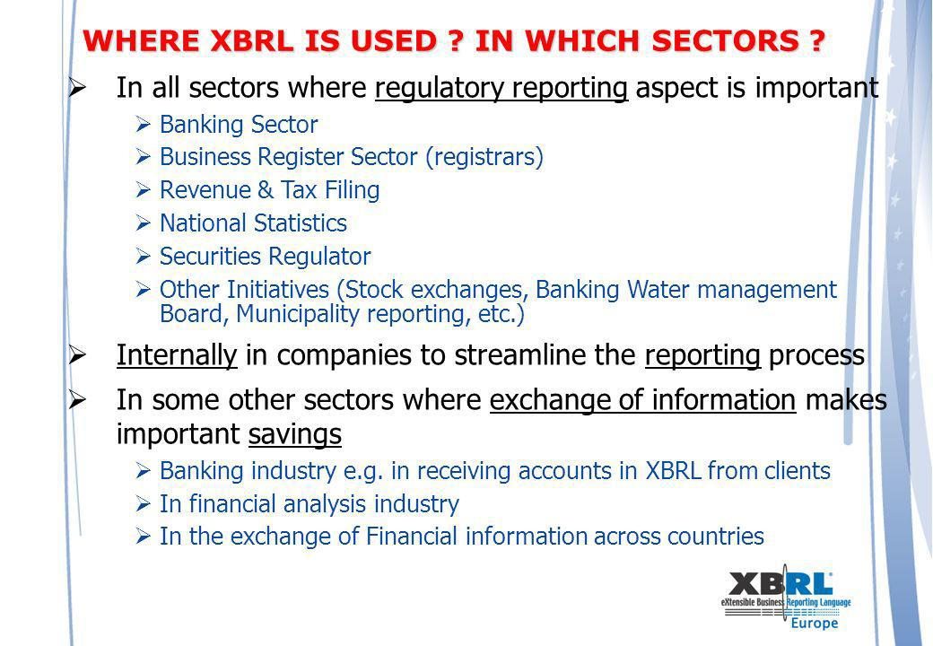 In all sectors where regulatory reporting aspect is important Banking Sector Business Register Sector (registrars) Revenue & Tax Filing National Statistics Securities Regulator Other Initiatives (Stock exchanges, Banking Water management Board, Municipality reporting, etc.) Internally in companies to streamline the reporting process In some other sectors where exchange of information makes important savings Banking industry e.g.