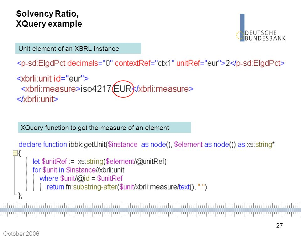 27 October 2006 Solvency Ratio, XQuery example Unit element of an XBRL instance XQuery function to get the measure of an element