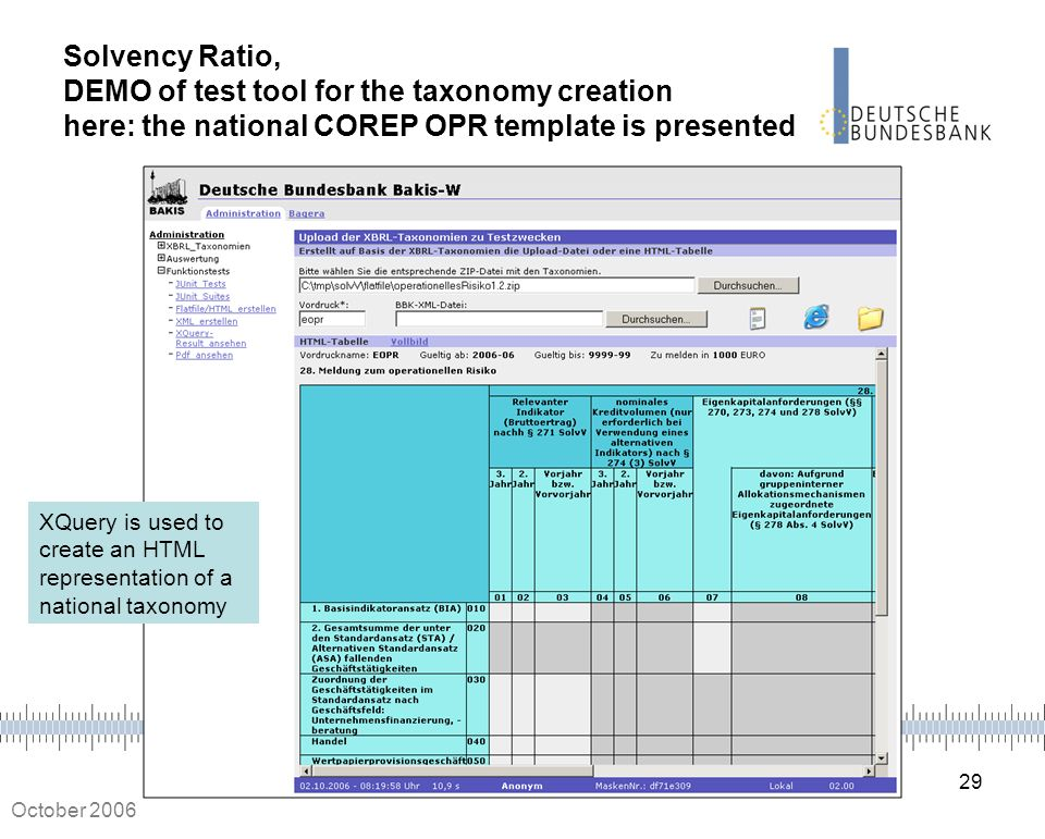 29 October 2006 Solvency Ratio, DEMO of test tool for the taxonomy creation here: the national COREP OPR template is presented XQuery is used to creat