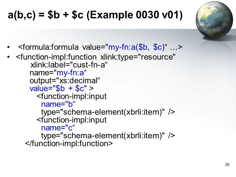 38 a(b,c) = $b + $c (Example 0030 v01)