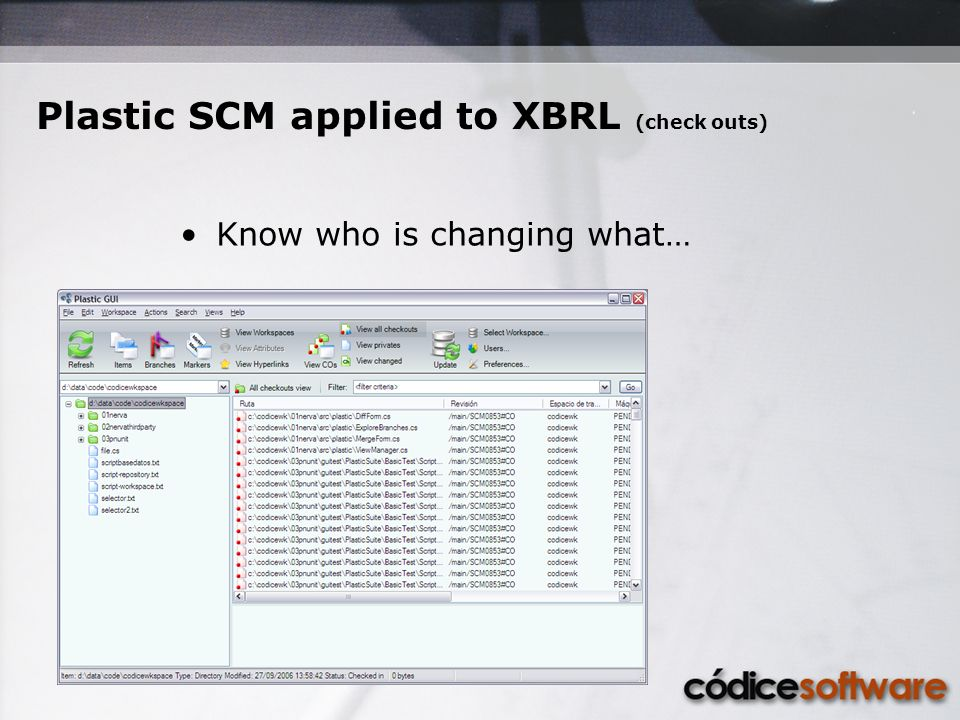 Know who is changing what… Plastic SCM applied to XBRL (check outs)