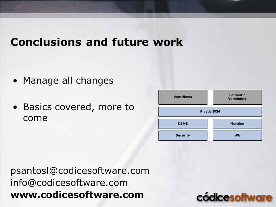 Conclusions and future work psantosl@codicesoftware.com info@codicesoftware.com www.codicesoftware.com Manage all changes Basics covered, more to come