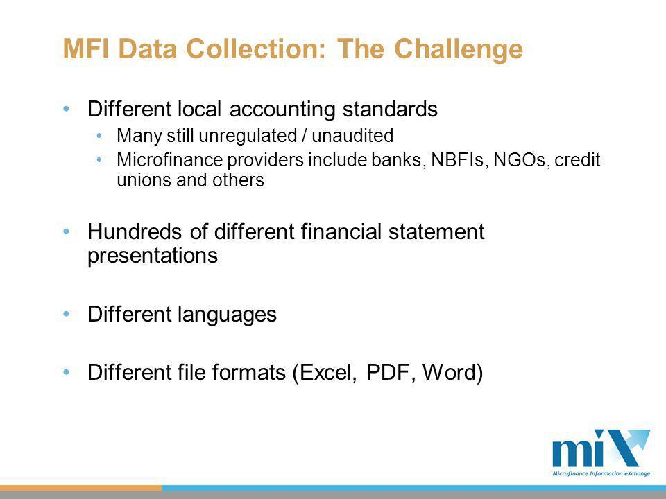 MFI Data Collection: The Challenge Different local accounting standards Many still unregulated / unaudited Microfinance providers include banks, NBFIs