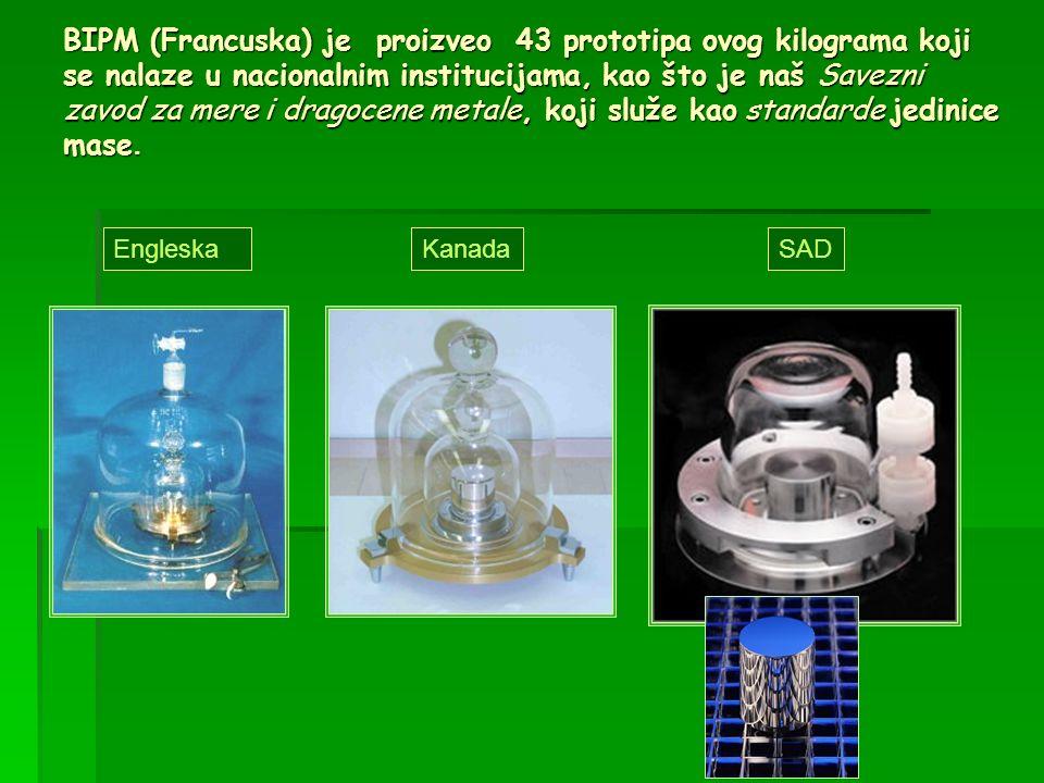 BIPM (Francuska) je proizveo 43 prototipa ovog kilograma koji se nalaze u nacionalnim institucijama, kao što je naš Savezni zavod za mere i dragocene
