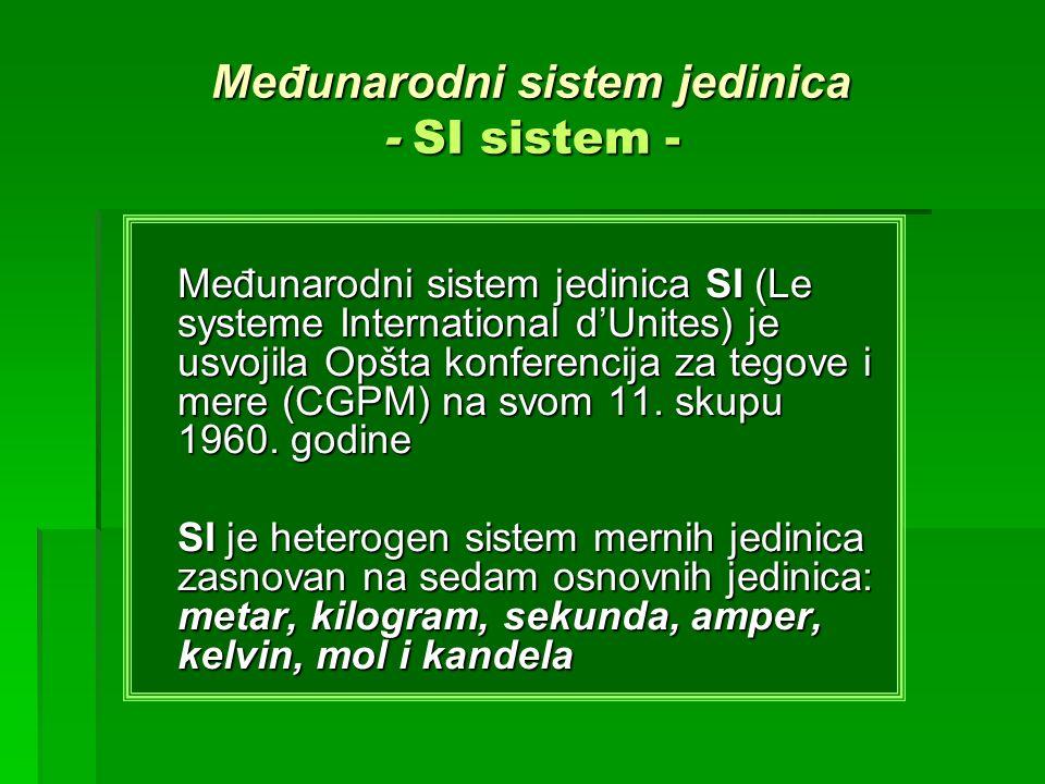 Međunarodni sistem jedinica - SI sistem - Međunarodni sistem jedinica SI (Le systeme International dUnites) je usvojila Opšta konferencija za tegove i
