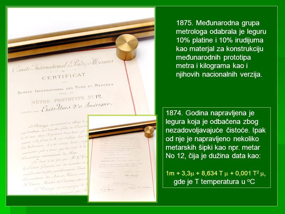 1875. Međunarodna grupa metrologa odabrala je leguru 10% platine i 10% irudijuma kao materjal za konstrukciju međunarodnih prototipa metra i kilograma