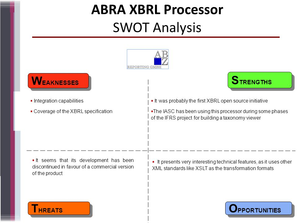 ABRA XBRL Processor SWOT Analysis W EAKNESSES T HREATS S TRENGTHS O PPORTUNITIES It was probably the first XBRL open source initiative The IASC has be
