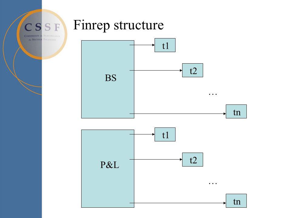 Finrep structure P&L t1 t2 … tn BS t1 t2 … tn