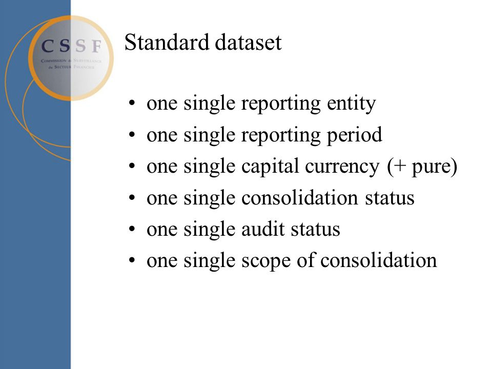 Standard dataset one single reporting entity one single reporting period one single capital currency (+ pure) one single consolidation status one sing
