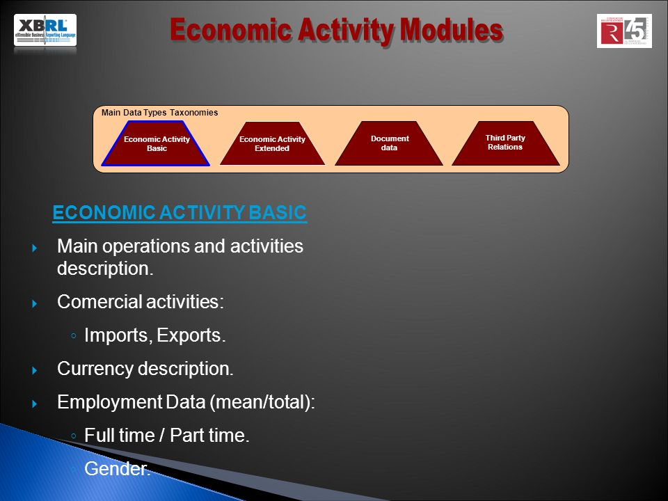 Economic Activity Basic Economic Activity Extended Document data Third Party Relations Main Data Types Taxonomies ECONOMIC ACTIVITY BASIC Main operations and activities description.