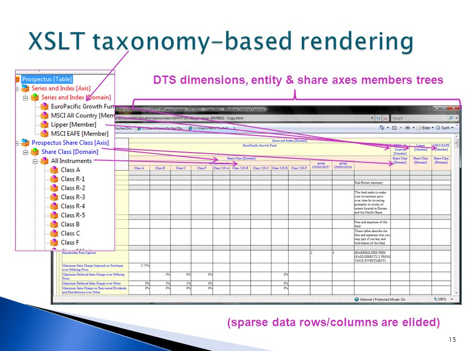 DTS dimensions, entity & share axes members trees (sparse data rows/columns are elided) 15