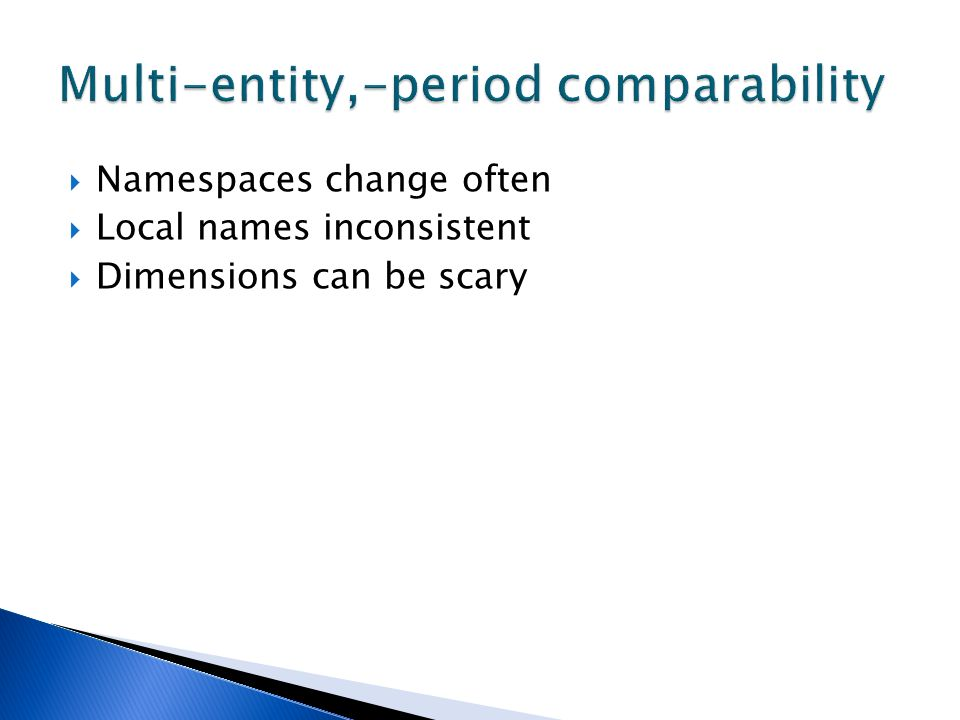 Namespaces change often Local names inconsistent Dimensions can be scary