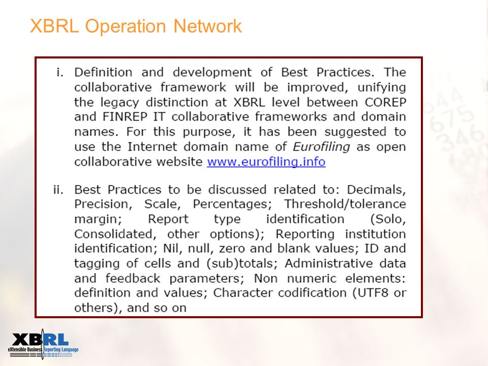 XBRL Operation Network