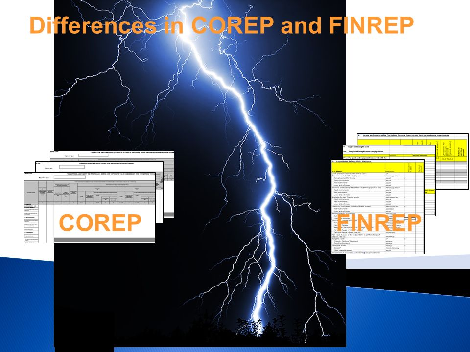 Differences in COREP and FINREP COREPFINREP