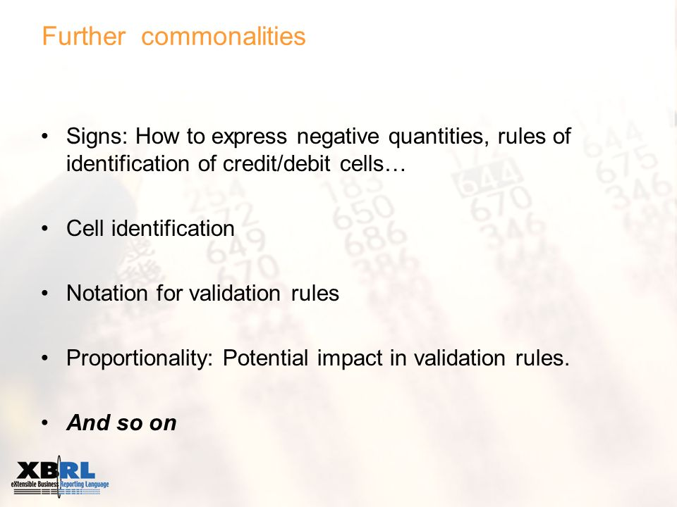 Further commonalities Signs: How to express negative quantities, rules of identification of credit/debit cells… Cell identification Notation for validation rules Proportionality: Potential impact in validation rules.