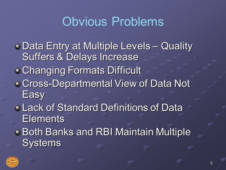5 Obvious Problems Data Entry at Multiple Levels – Quality Suffers & Delays Increase Changing Formats Difficult Cross-Departmental View of Data Not Ea