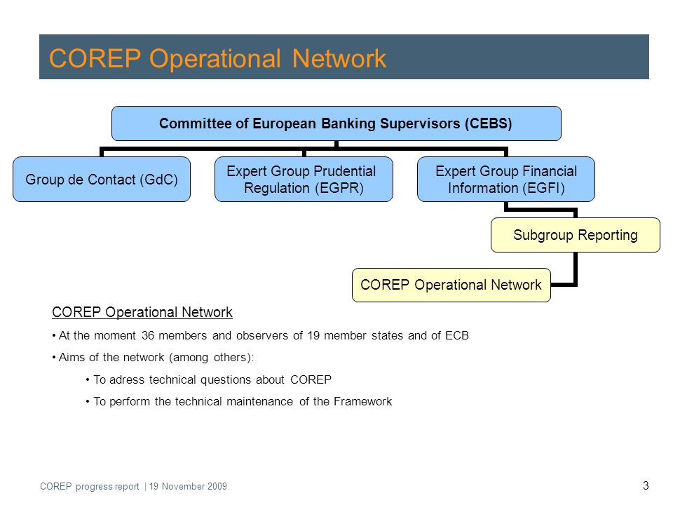 COREP progress report | 19 November 2009 4 COREP - Projects of COREP Operational Network 1.Revision of COREP Framework in order to amend templates because of CRD 2 amendments 2.Revision of COREP Framework in order to amend templates because of CRD 3 amendments 3.Streamlining and harmonisation of the current COREP Framework