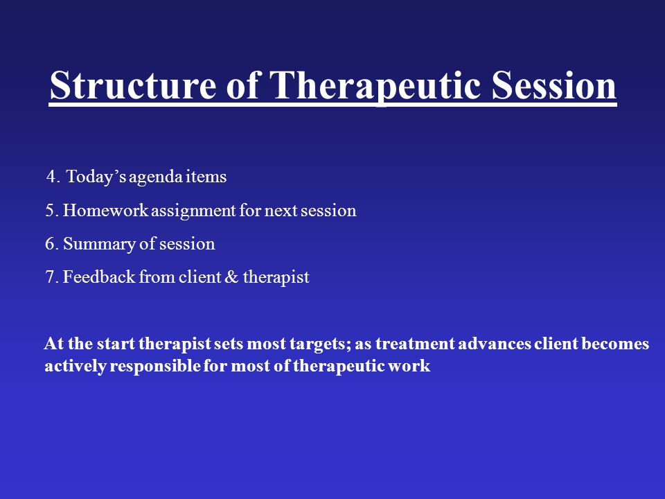Structure of Therapeutic Session 4. Todays agenda items 5. Homework assignment for next session 6. Summary of session 7. Feedback from client & therap