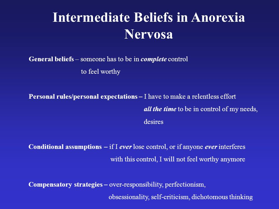Intermediate Beliefs in Anorexia Nervosa General beliefs – someone has to be in complete control to feel worthy Personal rules/personal expectations –