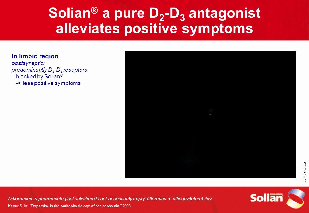 IC.AMS.04.06.02 Solian ® a pure D 2 -D 3 antagonist alleviates positive symptoms Differences in pharmacological activities do not necessarily imply di