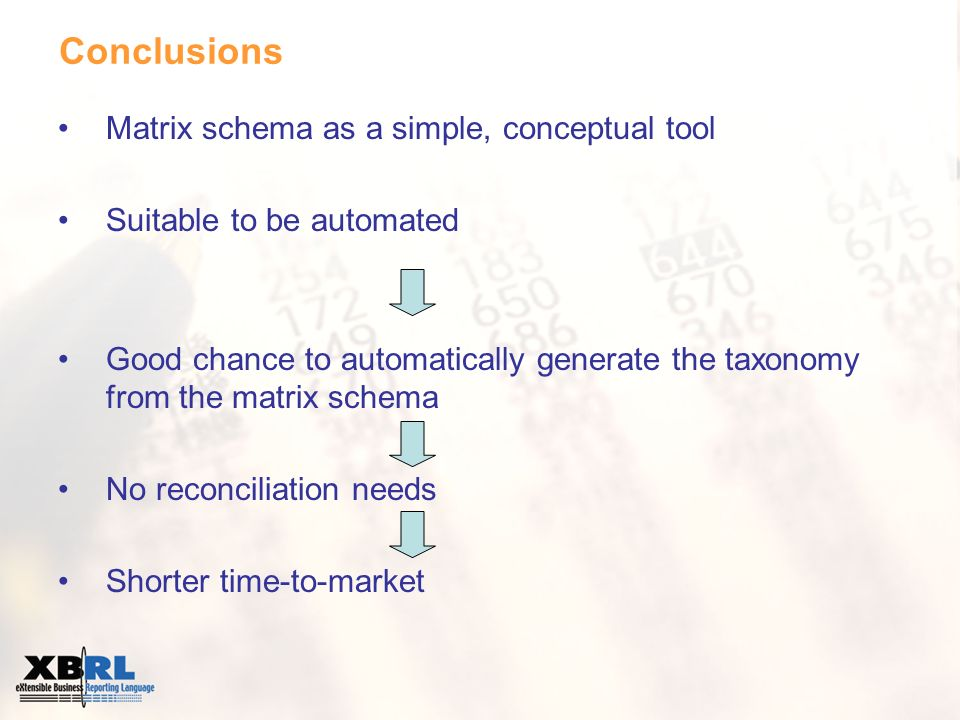 Conclusions Matrix schema as a simple, conceptual tool Suitable to be automated Good chance to automatically generate the taxonomy from the matrix schema No reconciliation needs Shorter time-to-market