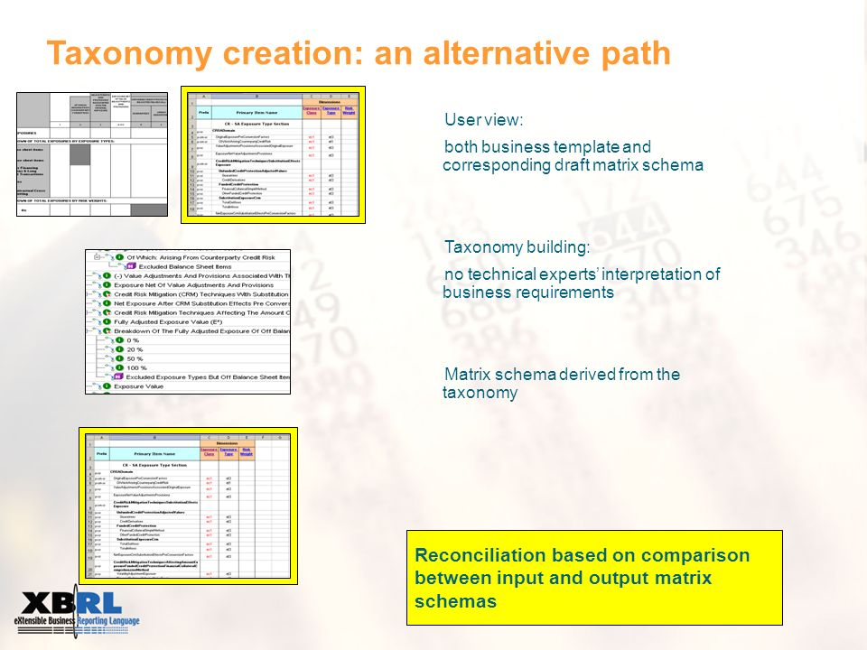 Taxonomy creation: an alternative path User view: both business template and corresponding draft matrix schema Taxonomy building: no technical experts interpretation of business requirements Matrix schema derived from the taxonomy Reconciliation based on comparison between input and output matrix schemas