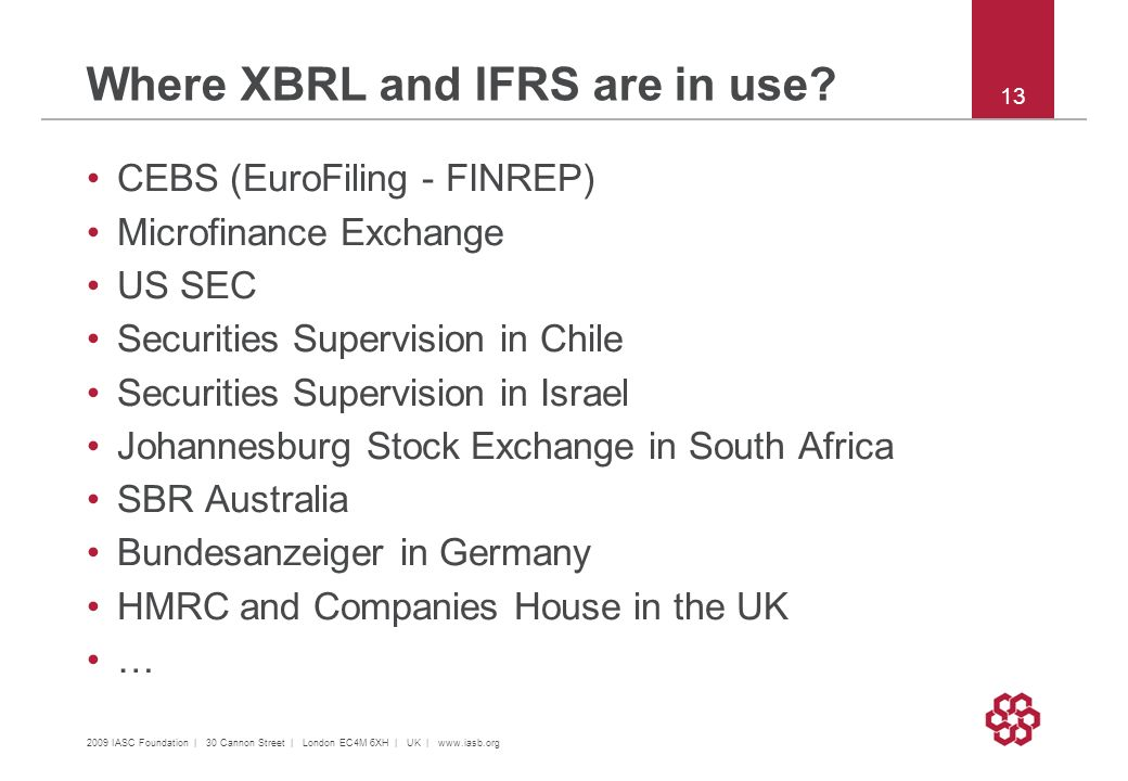 Where XBRL and IFRS are in use? CEBS (EuroFiling - FINREP) Microfinance Exchange US SEC Securities Supervision in Chile Securities Supervision in Isra