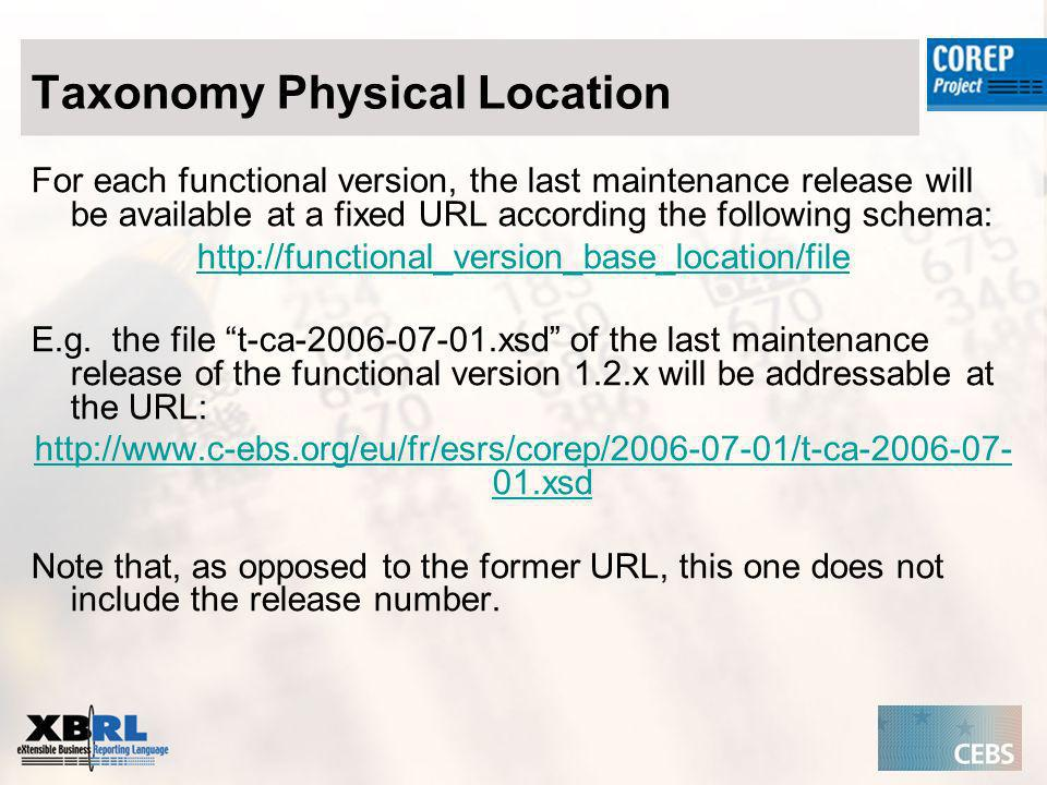 Taxonomy Physical Location For each functional version, the last maintenance release will be available at a fixed URL according the following schema: http://functional_version_base_location/file E.g.