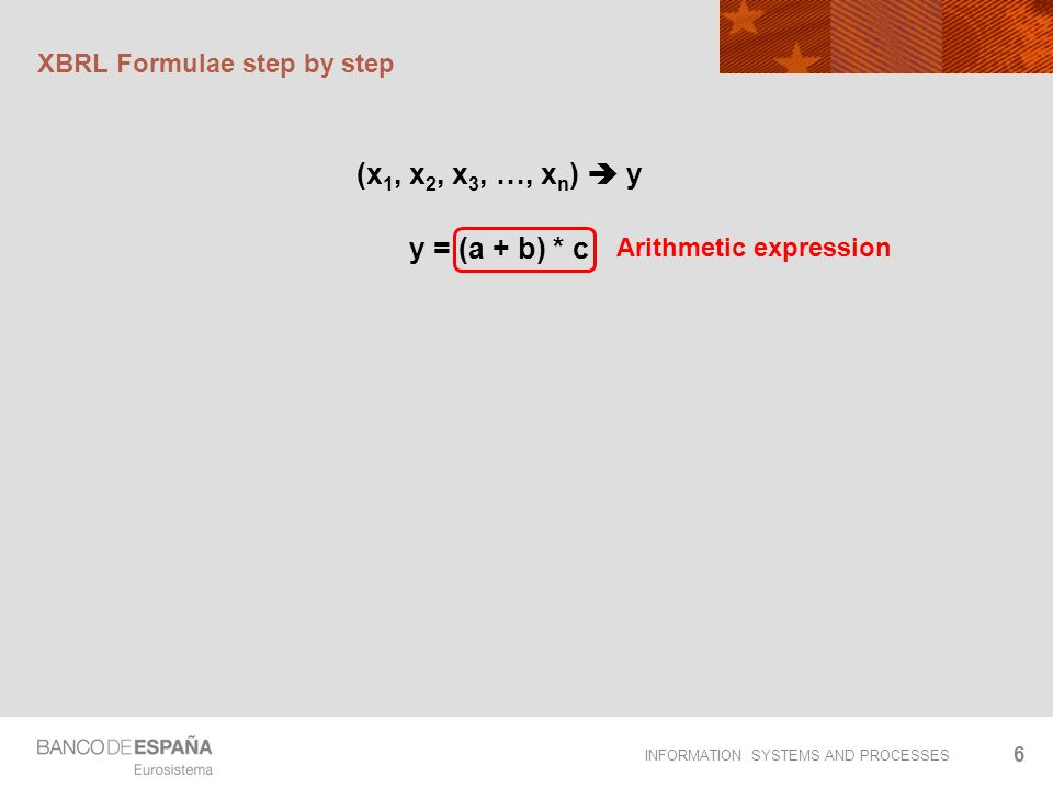 INFORMATION SYSTEMS AND PROCESSES 6 XBRL Formulae step by step (x 1, x 2, x 3, …, x n ) y y = (a + b) * c Arithmetic expression