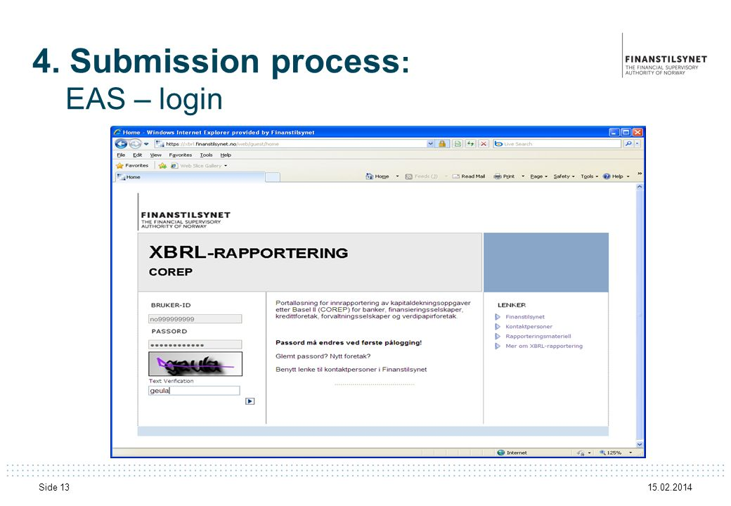 15.02.2014 Side 13 4. Submission process : EAS – login