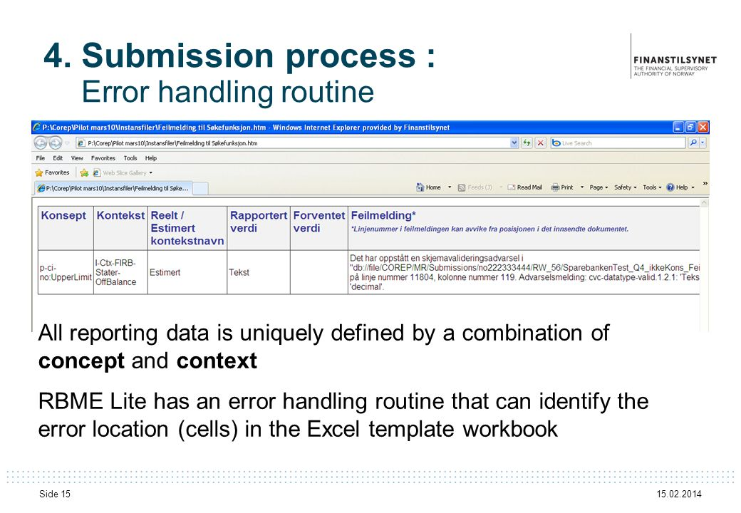 15.02.2014 Side 15 4. Submission process : Error handling routine All reporting data is uniquely defined by a combination of concept and context RBME