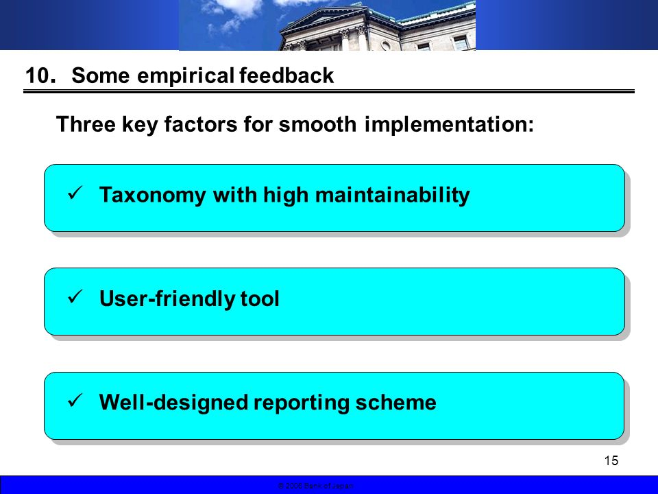 15 © 2006 Bank of Japan Three key factors for smooth implementation: 10 Some empirical feedback Taxonomy with high maintainability User-friendly tool