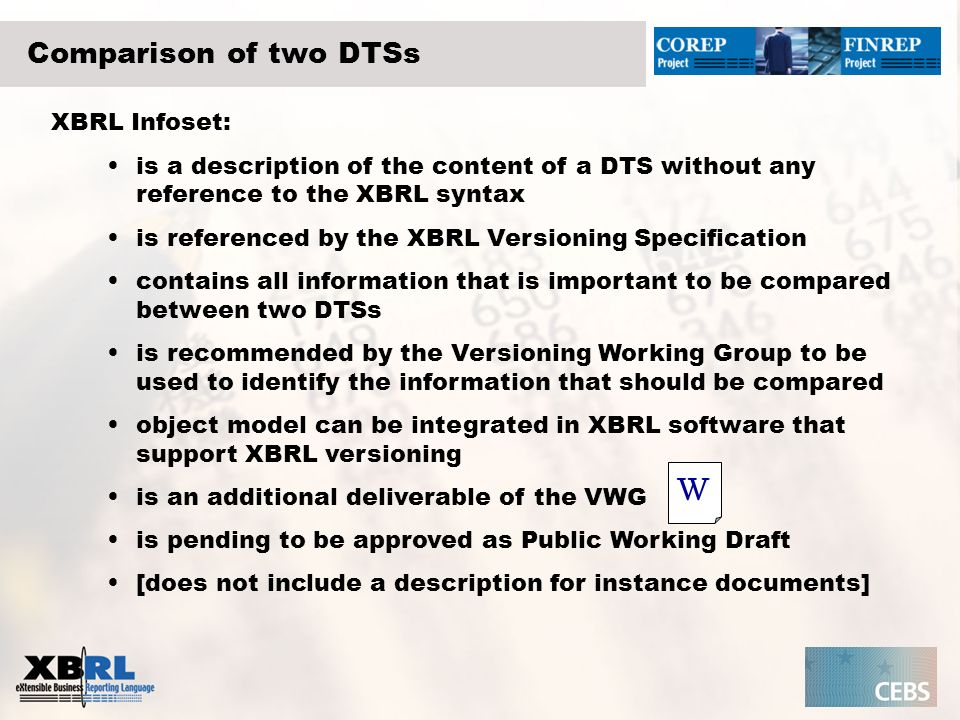 Comparison of two DTSs XBRL Infoset: is a description of the content of a DTS without any reference to the XBRL syntax is referenced by the XBRL Versioning Specification contains all information that is important to be compared between two DTSs is recommended by the Versioning Working Group to be used to identify the information that should be compared object model can be integrated in XBRL software that support XBRL versioning is an additional deliverable of the VWG is pending to be approved as Public Working Draft [does not include a description for instance documents] W