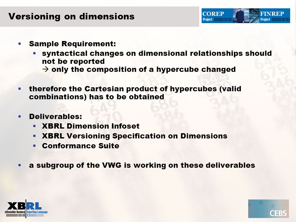Versioning on dimensions Sample Requirement: syntactical changes on dimensional relationships should not be reported only the composition of a hypercube changed therefore the Cartesian product of hypercubes (valid combinations) has to be obtained Deliverables: XBRL Dimension Infoset XBRL Versioning Specification on Dimensions Conformance Suite a subgroup of the VWG is working on these deliverables