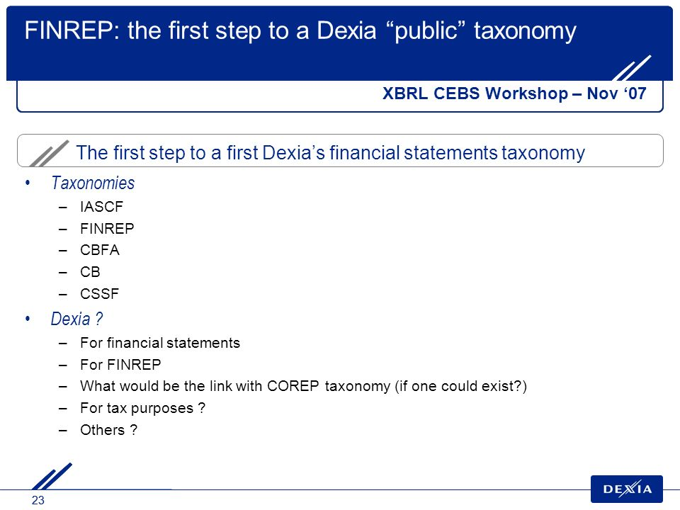 23 The first step to a first Dexias financial statements taxonomy FINREP: the first step to a Dexia public taxonomy XBRL CEBS Workshop – Nov 07 Taxonomies –IASCF –FINREP –CBFA –CB –CSSF Dexia .