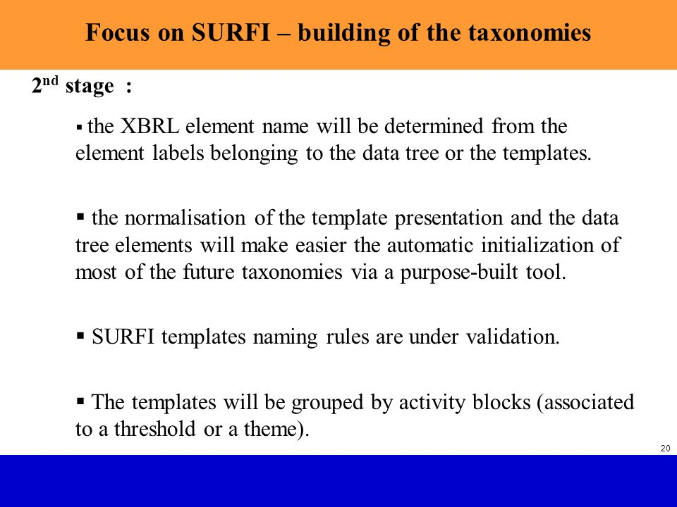 SURFI : Future French Banking Supervision with XBRL SGCB 20 Focus on SURFI – building of the taxonomies the XBRL element name will be determined from