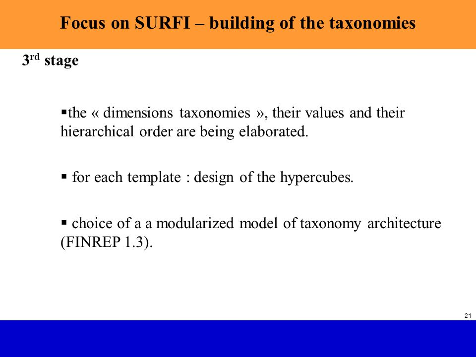 SURFI : Future French Banking Supervision with XBRL SGCB 21 Focus on SURFI – building of the taxonomies the « dimensions taxonomies », their values an