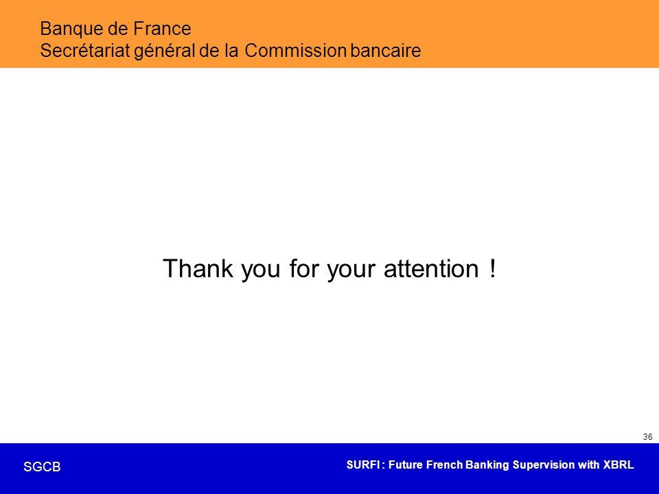 SURFI : Future French Banking Supervision with XBRL SGCB 36 Banque de France Secrétariat général de la Commission bancaire Thank you for your attentio